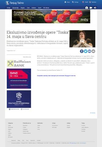 1904 - tanjug.rs - Eksluzivno izvodjenje opere Toska 14. maja u Sava centru
