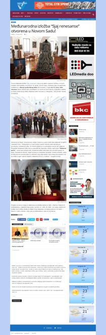 2004 - vojvodjanskevesti.rs - Medjunarodna izlozba Sjaj renesanse otvorena u Novom Sadu