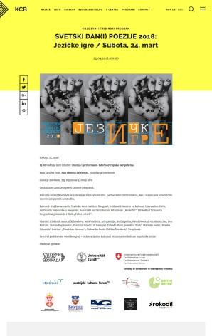 2103 - kcb.org.rs - SVETSKI DAN(I) POEZIJE 2018- Jezicke igre - Subota, 24. mart