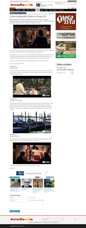 2304 - gradjanin.rs - Ciklus italijanskih filmova u Domu VS