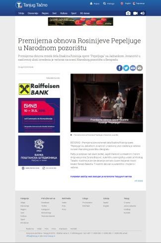 2604 - tanjug.rs - Premijerna obnova Rosinijeve Pepeljuge u Narodnom pozoristu