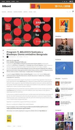 0505 - bilbord.rs - Program 11. BELDOCS festivala u Bioskopu Doma omladine Beograda