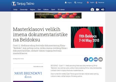 0605 - tanjug.rs - Masterklasovi velikih imena dokumentaristike na Beldoksu