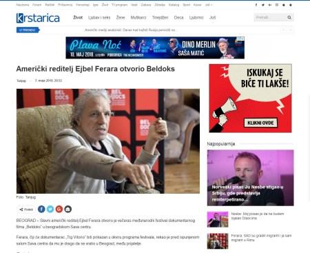 0705 - krstarica.com - Americki reditelj Ejbel Ferara otvorio Beldoks