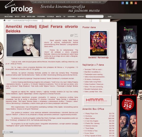 0705 - prolog.rs - Americki reditelj Ejbel Ferara otvorio Beldoks