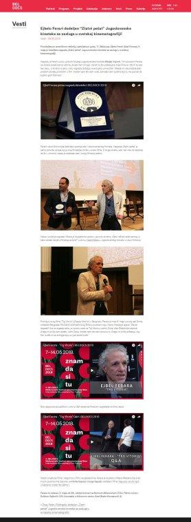 0905 - beldocs.rs - Ejbelu Ferari dodeljen Zlatni pecat Jugoslovenske kinoteke za zasluge u svetskoj kinematografiji
