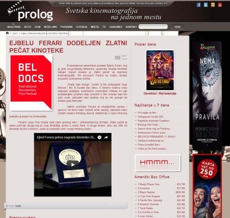 0905 - prolog.rs - EJBELU FERARI DODELJEN ZLATNI PECAT KINOTEKE