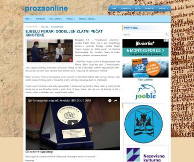 1005 - prozaonline.com - EJBELU FERARI DODELJEN ZLATNI PECAT KINOTEKE