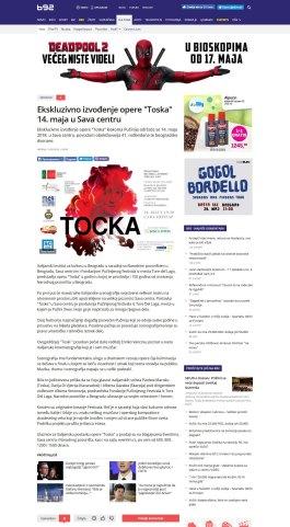 1305 - b92.net - Ekskluzivno izvodjenje opere Toska 14. maja u Sava centru