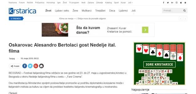 1805 - krstarica.com - Oskarovac Alesandro Bertolaci gost Nedelje ital. filma