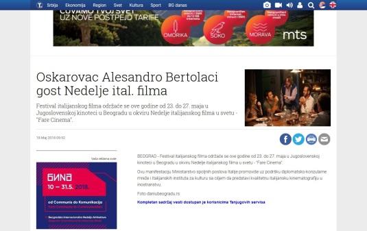 1805 - tanjug.rs - Oskarovac Alesandro Bertolaci gost Nedelje ital. filma