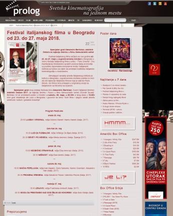 2205 - prolog.rs - Festival italijanskog filma u Beogradu od 23. do 27. maja 2018.
