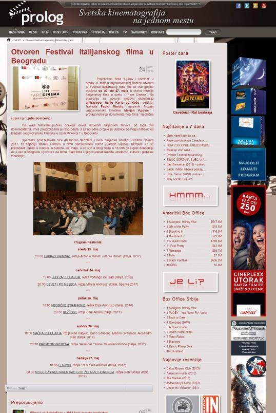 2405 - prolog.rs - Otvoren Festival italijanskog filma u Beogradu