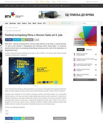 0207 - rtv.rs - Festival evropskog filma u Novom Sadu od 4. jula