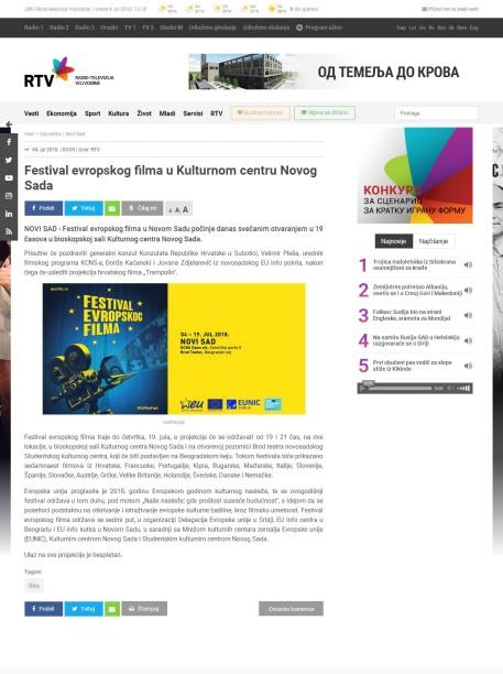 0407 - rtv.rs - Festival evropskog filma u Kulturnom centru Novog Sada