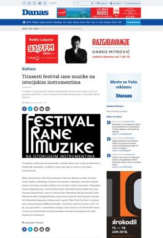 0806 - danas.rs - Trinaesti festival rane muzike na istorijskim instrumentima