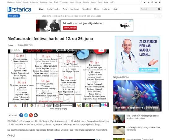 1106 - krstarica.com - Medjunarodni festival harfe od 12. do 26. juna