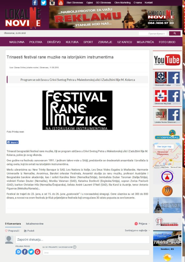 1106 - lokalnenovine.rs - Trinaesti festival rane muzike na istorijskim instrumentima