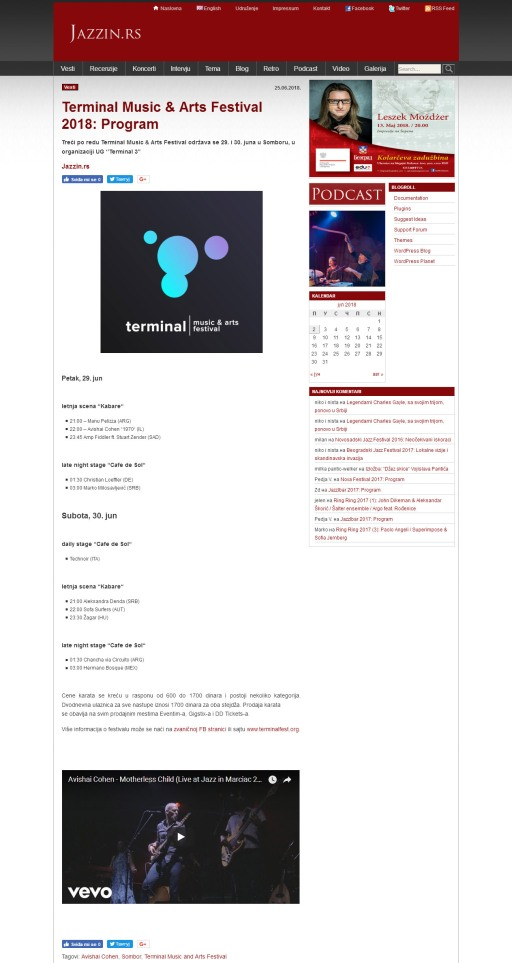 2506 - jazzin.rs - Terminal Music i Arts Festival 2018- Program