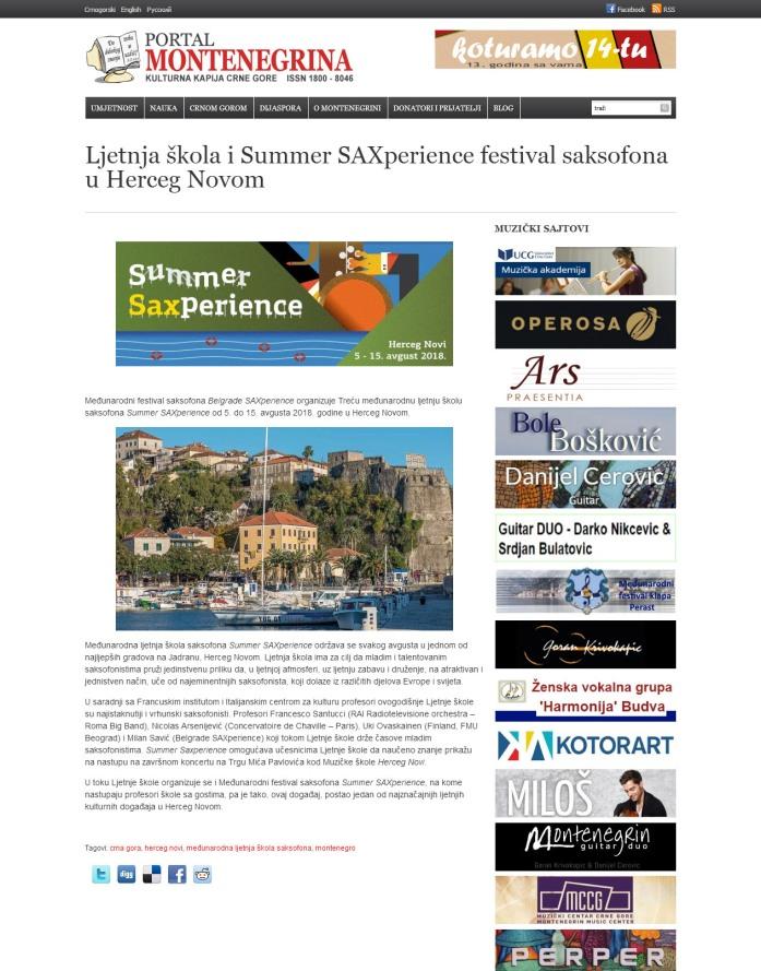 0208 - montenegrina.net - Letnja skola i Summer Saxperience festival saksofina u Herceg Novom