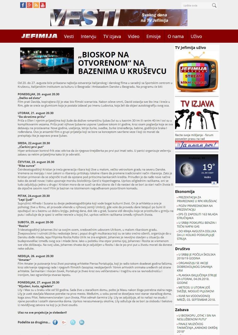 1608 - jefimija.tv - BIOSKOP NA OTVORENOM NA BAZENIMA U KRUSEVCU