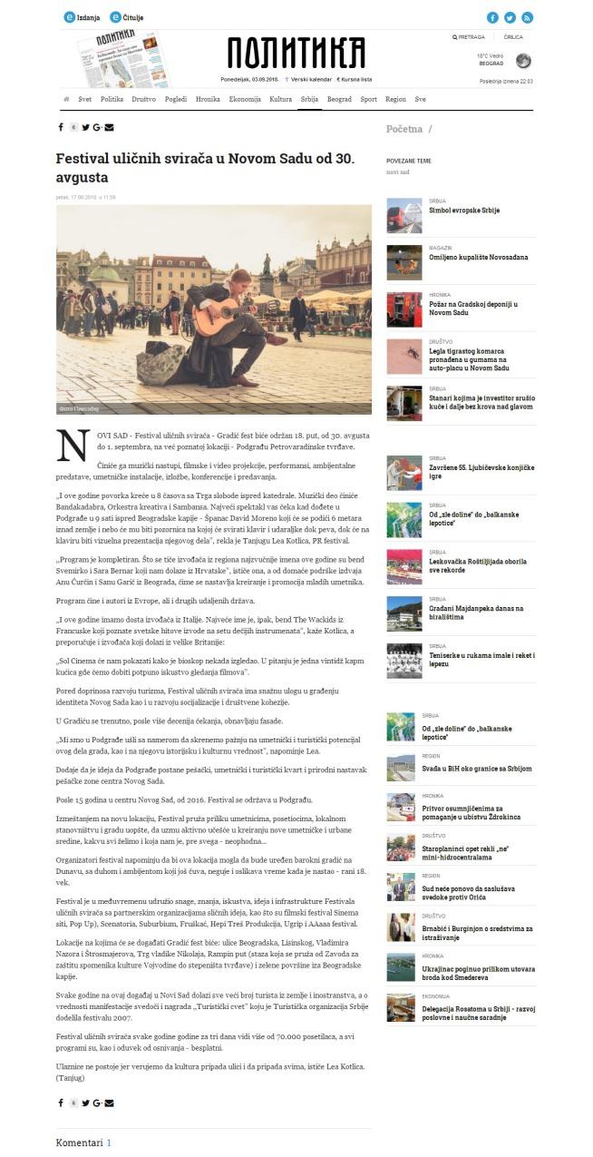 1708 - politika.rs - Festival ulicnih sviraca u Novom Sadu od 30. avgusta