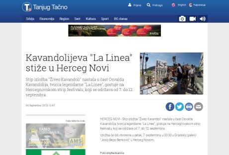 0609 - tanjug.rs - Kavandolijeva La Linea stize u Herceg Novi