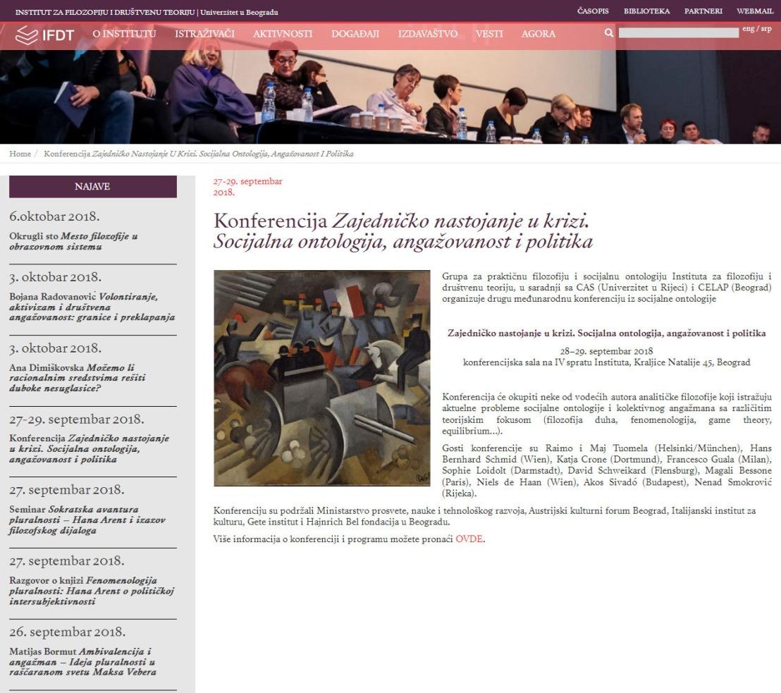 2009 - instifdt.bg.ac.rs - Konferencija Zajednicko nastojanje. Socijalna ontologija, angazovanost i politika.jpg