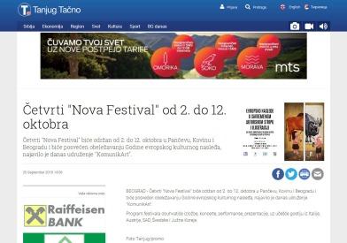 2509 - tanjug.rs - Cetvrti Nova Festival od 2. do 12. oktobra