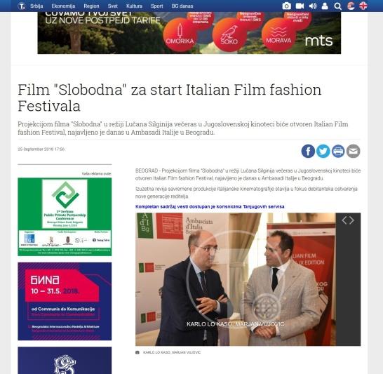 2509 - tanjug.rs - Film Slobodna za start Italian Film fashion Festivala
