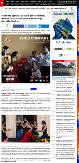 2809 - telegraf.rs - Flamenko spektakl sa Kube, Ecos Company, odrzace dva nastupa u okviru Musicology Barcaffe Sessions