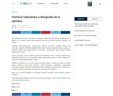 0210 - bizlife.rs - Festival saksofona u Beogradu do 6. oktobra
