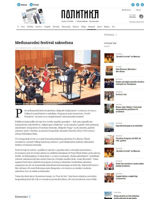 0210 - politika.rs - Medjunarodni festival saksofona