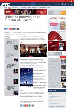 0210 - rts.rs - Filmsko putovanje za publiku na Kolarcu