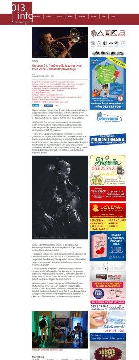 0211 - 013info.rs - Otvoren 21. Pancevacki jazz festival- Prvo vece u znaku improvizacije