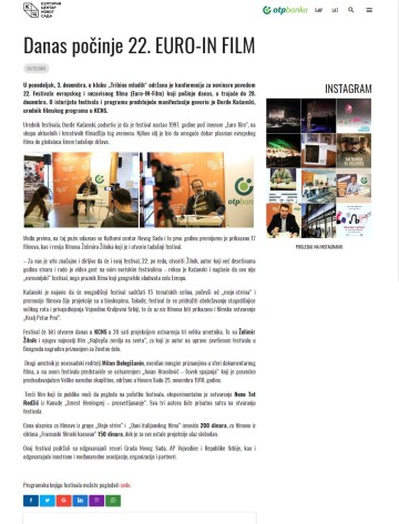 0312 - kcns.org.rs - Danas pocinje 22. EURO-IN FILM