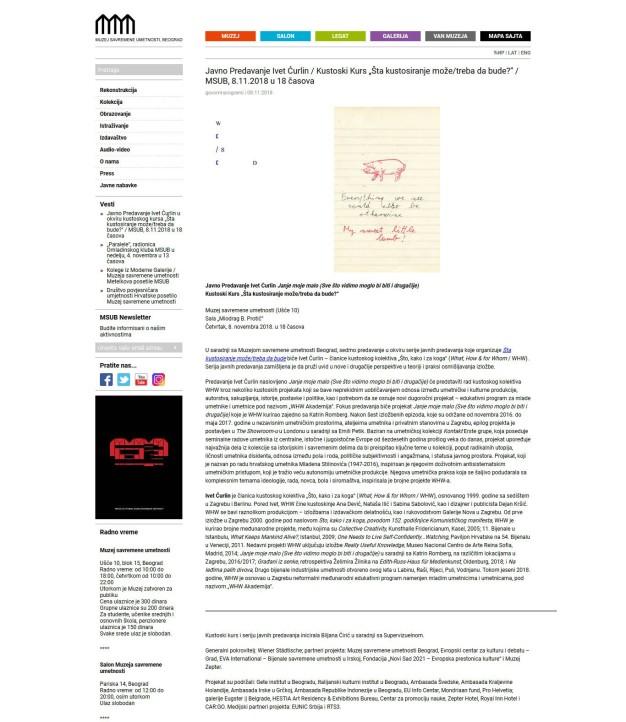 0611 - msub.org.rs - Javno Predavanje Ivet Curlin - Kustoski Kurs Sta kustosiranje moze-treba da bude