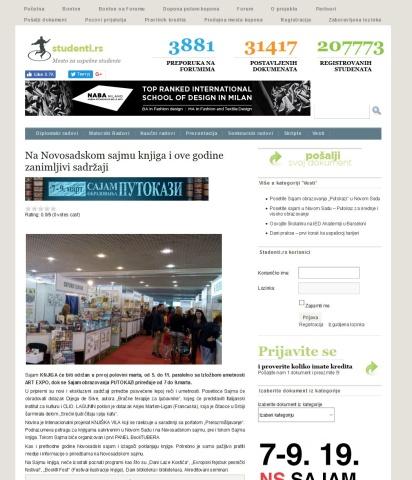 0802 - studenti.rs - Na Novosadskom sajmu knjiga i ove godine zanimljivi sadrzaji