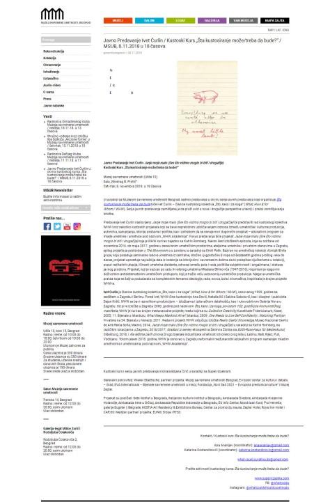 0811 - msub.org.rs - Javno Predavanje Ivet Curlin - Kustoski Kurs Sta kustosiranje moze-treba da bude