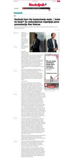 0910 - nedeljnik.rs - Kustoski kurs sta kustosiranje moze - treba da bude Sa zadovoljstvom najavljuje javnu prezentaciju Hou Hanrua