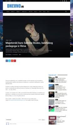 0911 - dnevno.rs - Majstorski kurs Sabrine Bosko, baletskog pedagoga iz Rima