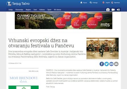 1010 - tanjug.rs - Vrhunski evropski dzez na otvaranju festivala u Pancevu