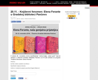 1111 - k-013.com - 20.11. - Knjizevni fenomen- Elena Ferante u Gradskoj biblioteci Pancevo