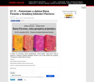 1111 - k-013.com - 21.11. - Feminizam u delima Elene Ferante u Gradskoj biblioteci Pancevo