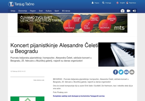 1202 - tanjug.rs - Koncert pijanistkinje Alesandre Celeti u Beogradu
