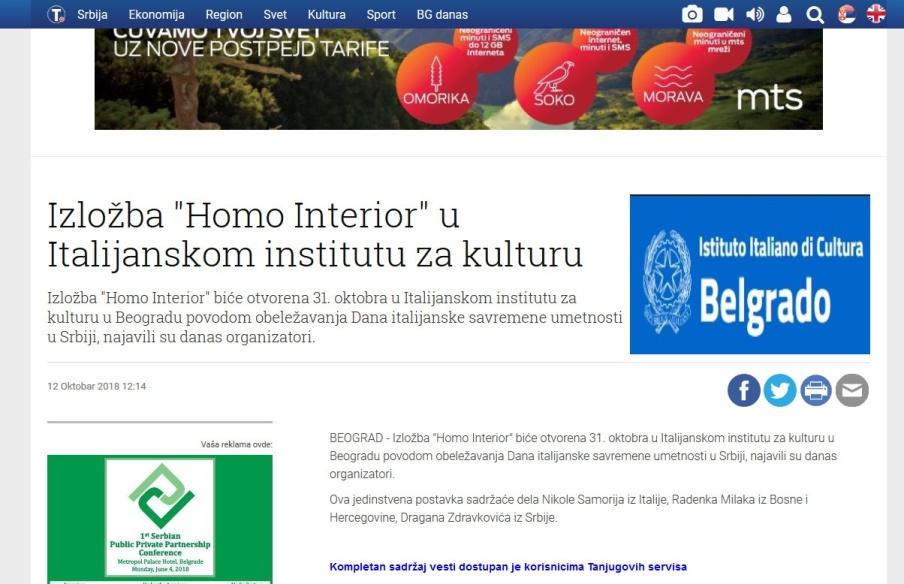 1210 - tanjug.rs - Izlozba Homo Interior u Italijanskom institutu za kulturu