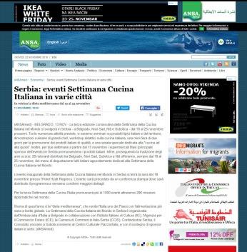 1311 - ansamed.info - Serbia- eventi Settimana Cucina Italiana in varie città - Economia - ANSAMed.it