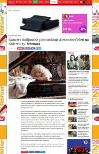 1402 - blic.rs - Koncert italijanske pijanistkinje Alesandre Celeti na Kolarcu 25. februara