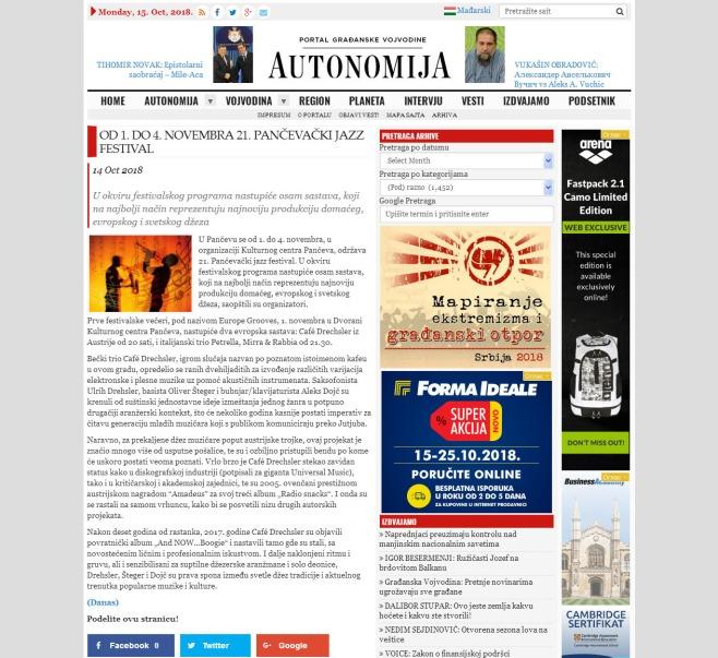 1410 - autonomija.info - Od 1. do 4. novembra 21. Pancevacki jazz festival