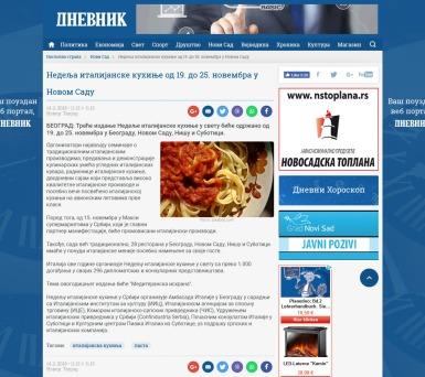 1411 - dnevnik.rs - Nedelja italijanske kuhinje od 19. do 25. novembra u Novom Sadu